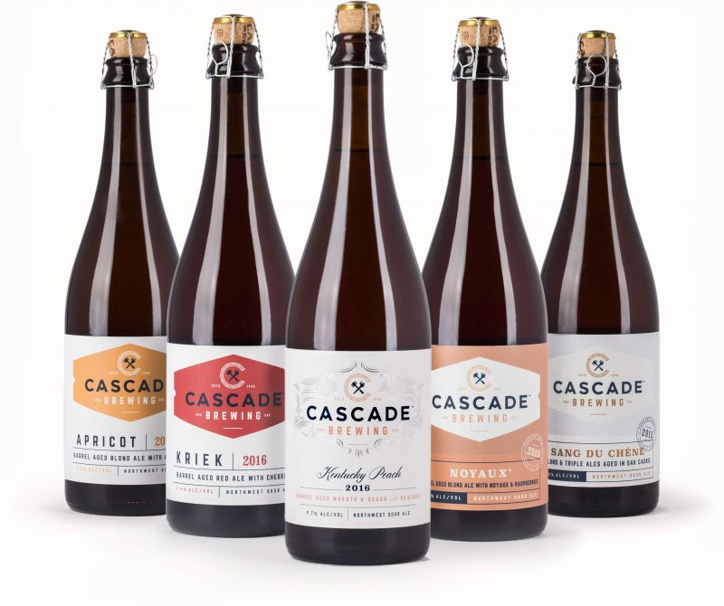 Cascade Brewing beer bottles packaging design