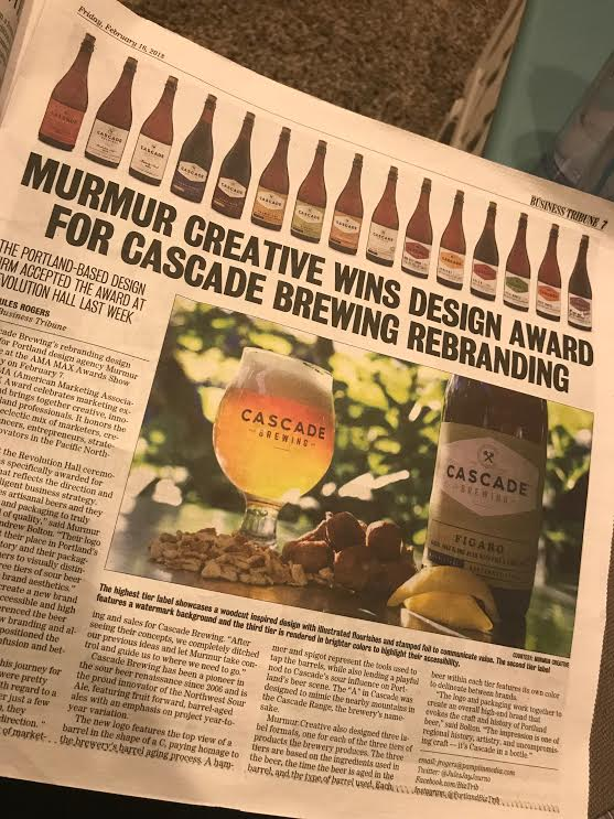 Murmur Branding Award in Portland Tribune