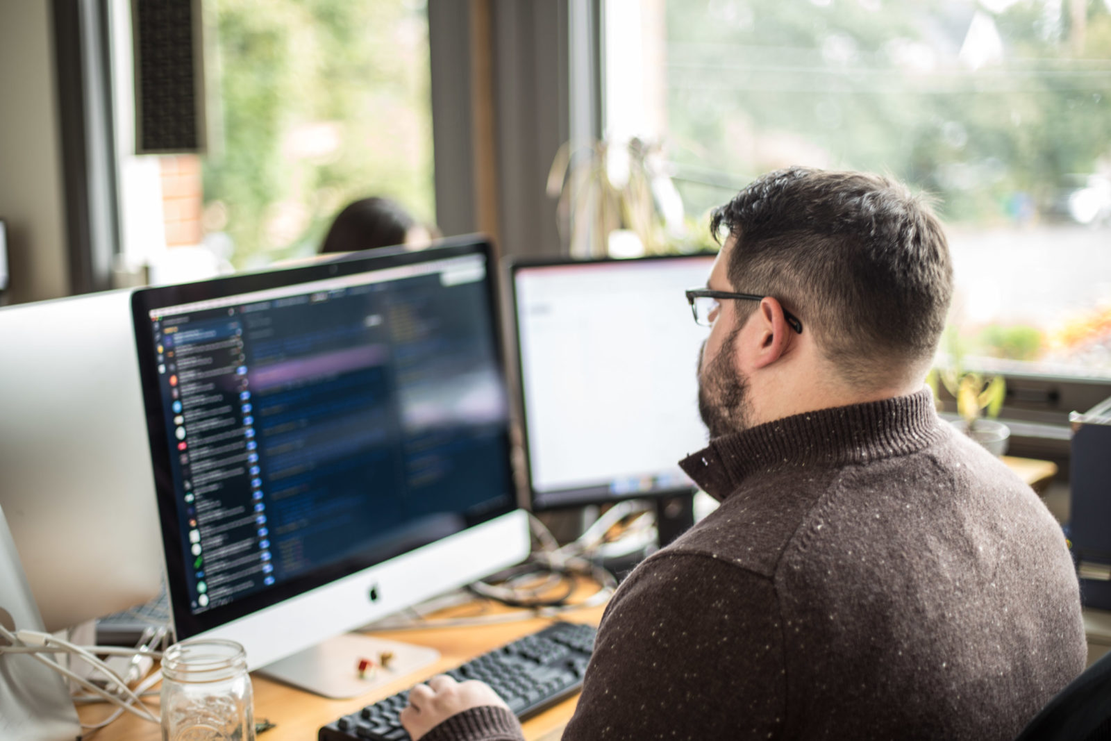 Ben staring at computer